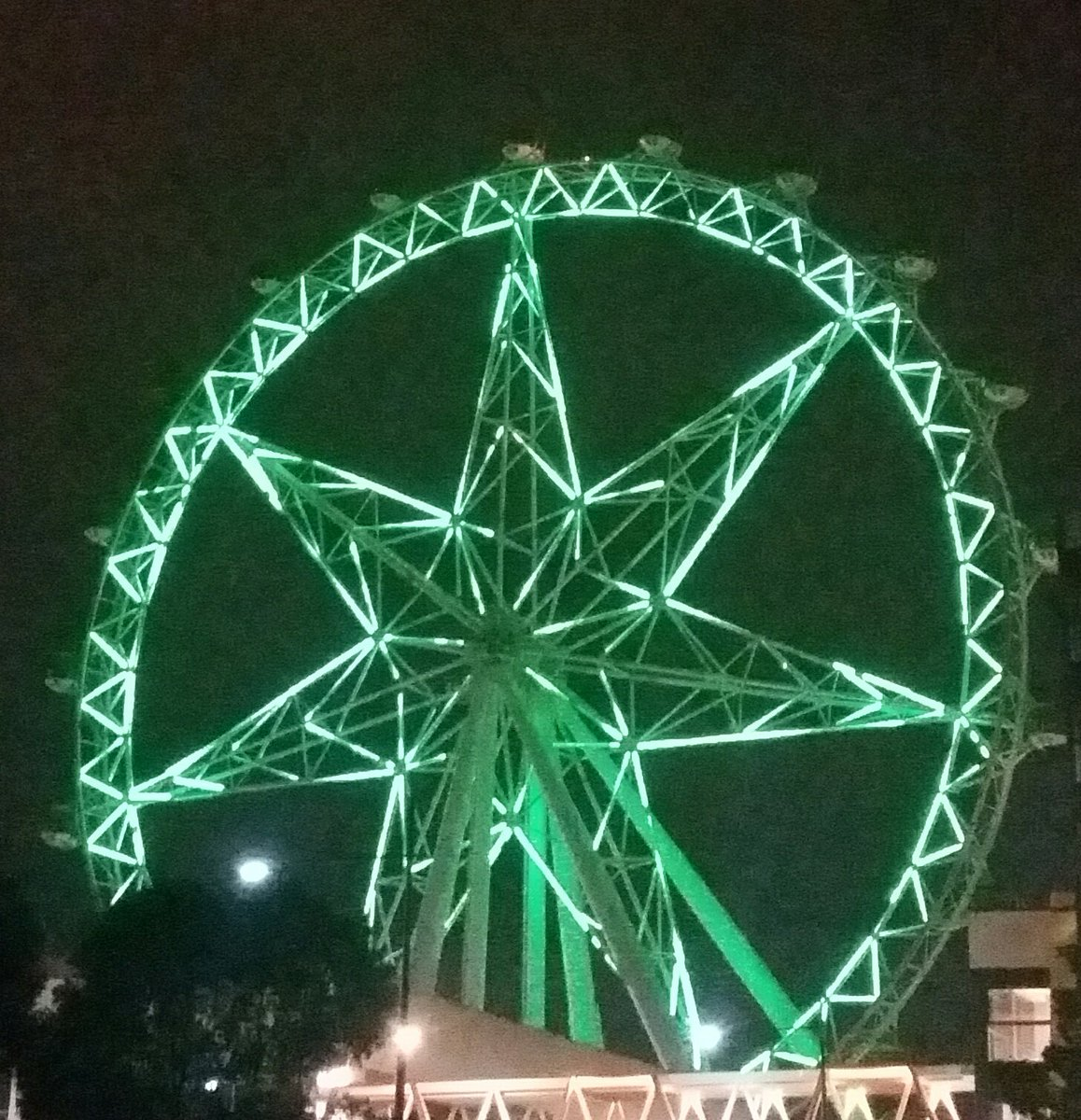 Melbourne Star Wheel illuminated in green
